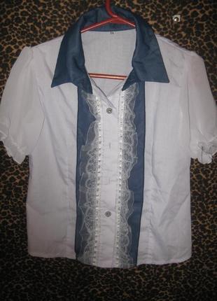 Школьная блузка,  на возраст 6- 8 лет