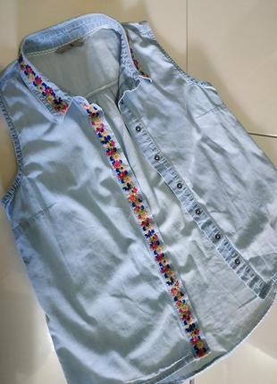 Летняя хлопковая рубашечка под джинс