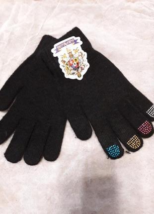 Вязанные теплые перчатки универсального размера