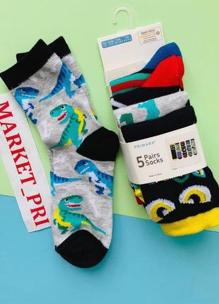 Детские носки с динозаврами, носки примарк 5 шт