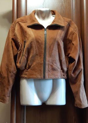 Кожаная куртка короткая в стиле 90-х нубук широкие плечи