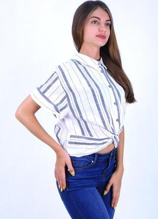 Рубашка bershka в полоску с узлом на талии короткие рукава