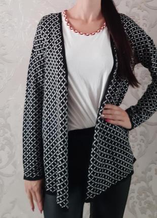 Стильный модный чёрно-белый в ромб клетка кофта кардиган esmara