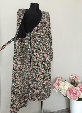 Цветочное платье халат на запах для беременных george