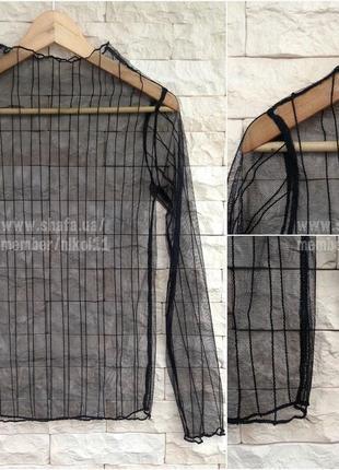 Эффектная прозрачная кофточка 🔥 гольф сетка водолазка блузка  в полоску5 фото