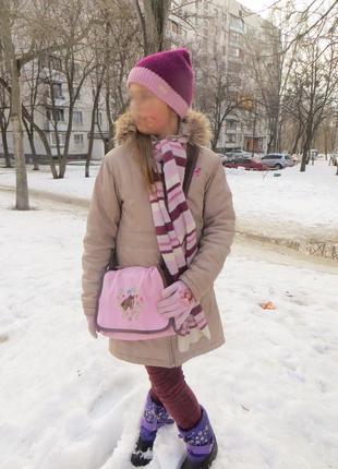Парка утепленная всесезонная tex+шапка+шарф+сумка в подарок 10-12 л