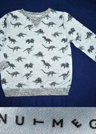 Свитшот батник с динозаврами для мальчика 2-3 лет