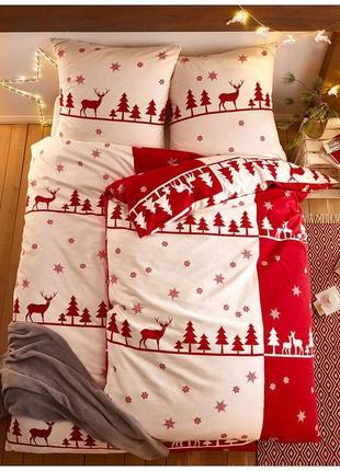 """Єврокомплект постільної білизни """" новорічна """" натуральна бавовняна тканина."""