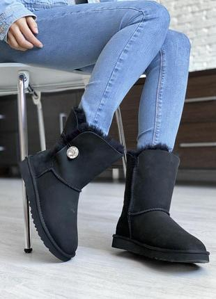 Ugg bailey button black! женские замшевые зимние угги/ сапоги/ ботинки/ луноходы😍(с мехом)
