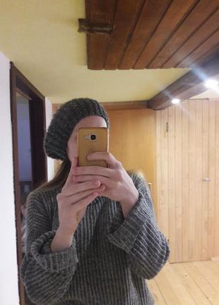 Берет шапка зимняя вязанная