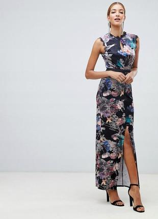 Розкішна кольорова сукня зі вставками з мережива