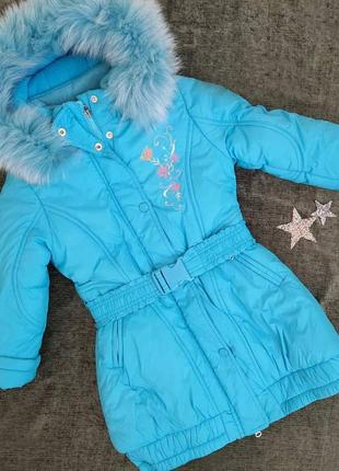 Полномерная зимняя тёплая куртка kiko на 5-9 лет. оригинал!