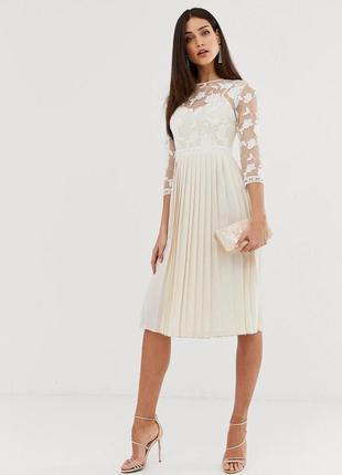 Сукня-плісе верх мереживний ніжного кремового кольору