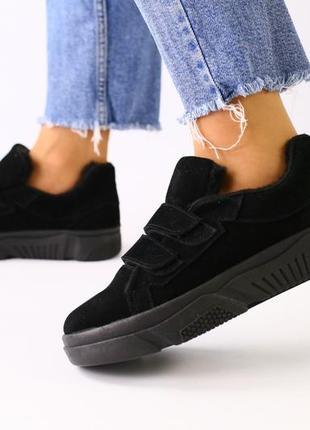 Женские модные замшевые слипоны на липучке черные