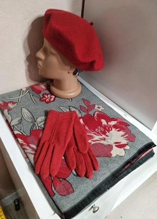 Комплект чешский фетровый берет tonak и зимний шарф палантин с цветами и перчатки