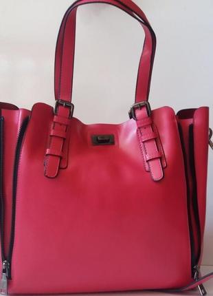 Женская сумка из натуральной кожи с внутренней сумкой