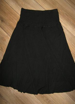 Длинная - трикотажная юбка черная - италия - kali orea