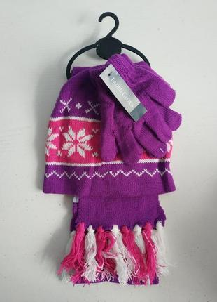 Комплект шапка перчатки шарф на девочку бренда faded glory, америка