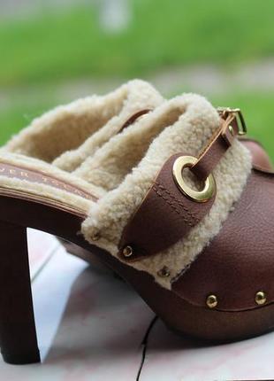 Эксклюзивные кожаные сабо, шлепанцы 37-38 river island. италия
