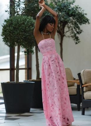 Нарядное платье макси, длинное платье в пол розового цвета.