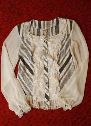 Блузка викторианский стиль, кружева, широкий рукав, нарядная