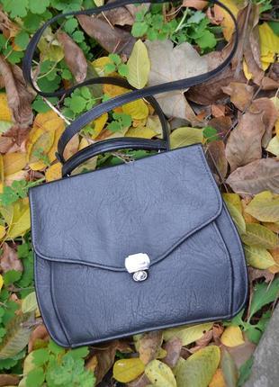 Черная винтажная сумка потрфель с короткой и длинной ручкой