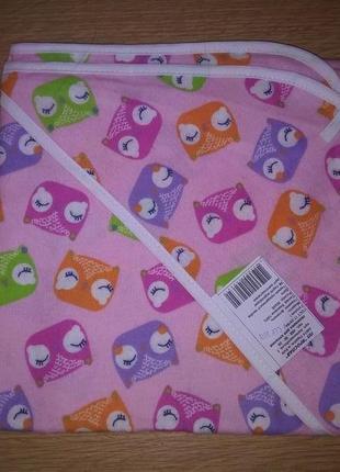 Пеленка для купания фланель розовая совушки размер 95*95