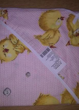 Пеленка для купания фланель персиковая цыпленок размер 95*95