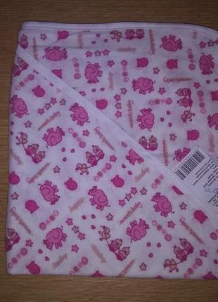 Пеленка для купания фланель слоники розовые размер 95*95