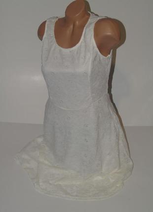 Кремовое кружевное платье 12 размера