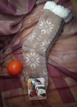 Тёплые домашние сапожки носки с антискольжением шерсть thermo slippers размер 35-38