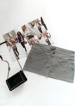 Серая джинсовая юбка terranova