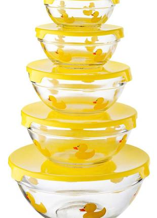 Cкляні харчові контейнери з кришками ( набір 5 шт. ) німеччина.