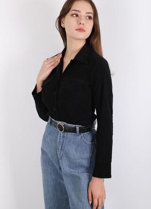 Черная велюровая рубашка hennes collection h&m