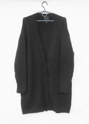 Шикарный теплый осенний зимний удлиненный кардиган шерсть мохер с длинным рукавом inwear