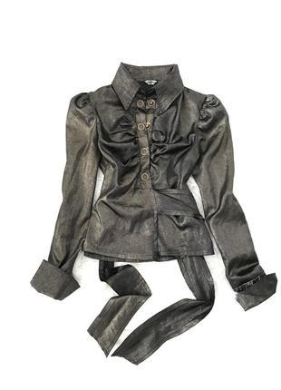 Стильная элегантная блуза с золотистым шиммером. s/m. италия 🇮🇹