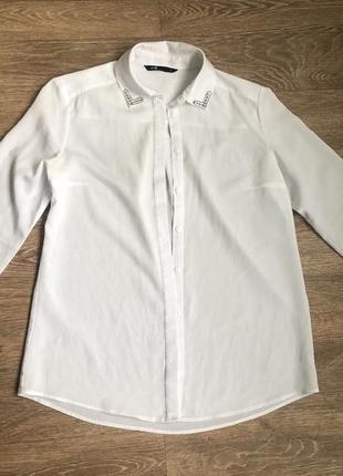 Шифоновая белая рубашка oodji