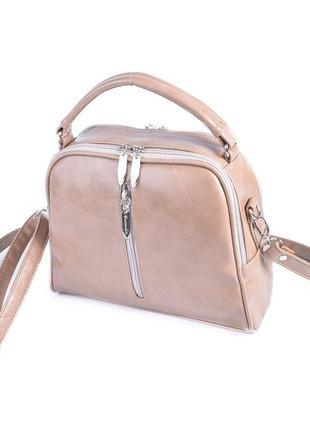 Кофейная маленькая сумка портфельчик модная через плечо кросс-боди