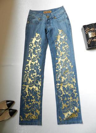 ✅прямые джинсы с золотистой накаткой