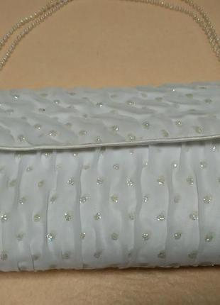 Клатч білий, торбинка для телефону