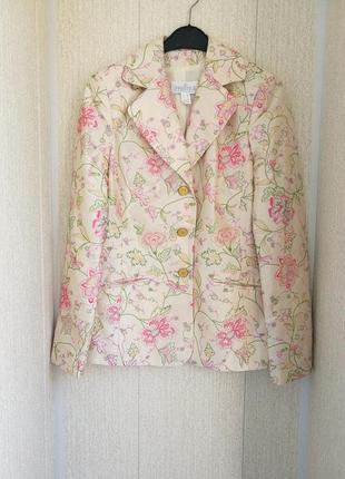 Шелковый жакет,пиджак с вышивкой prestige paris