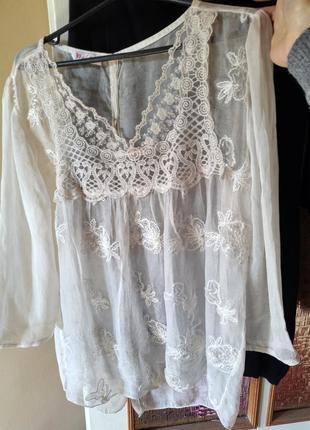 Блуза, блузон, сзади застежка, кружевная