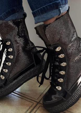 Высокие кожаные зимние ботинки на цигейке с шнуровкой, ботинки кожа зима