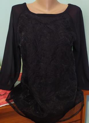 Блуза шикарна с органзой и вишивкой