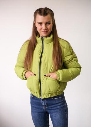 Женская зимняя короткая куртка шоти зеленая