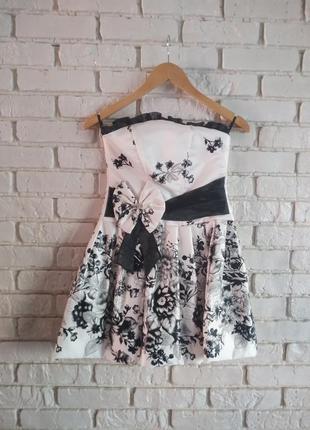 Детское вечернее короткое платье черно-беж