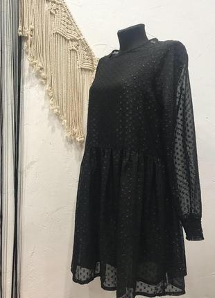Платье monki расклешенное от талии  в горошек с прозрачными рукавами! сукня, платья,