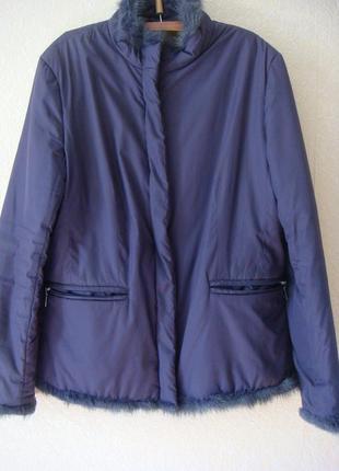 Короткая фиолетовая куртка на легкую зиму