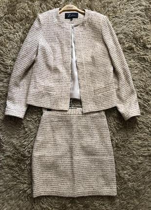 Костюм твидовый шанель твид букле юбка пиджак жакет комплект набор