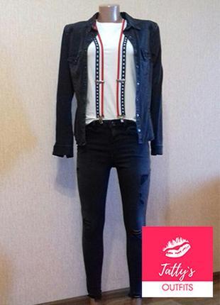 Костюм, чёрная джинсовая рубашка + чёрные джинсы
